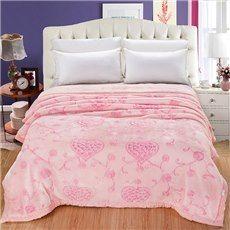 Sweet Pink Heart Shape Embroidery Raschel Blanket