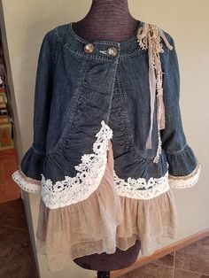 Denim upcycled repurposed short jacket with ivory and sheer
