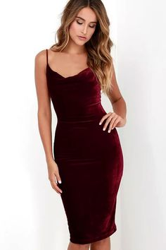 The Jazzy Belle Burgundy Velvet Dress is worthy of a catwalk and a crowd! See for yourself as the soft, velvet knit fabric shapes a sexy cowl neckline and elastic back below rounded shoulder straps. Bodycon skirt creates a bold finish ending at a flattering midi length.