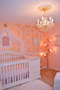 Pink and Gold Glam Little Princess Nursery Decor - Elegancia Allover Wall Stencil from Royal Design Studio