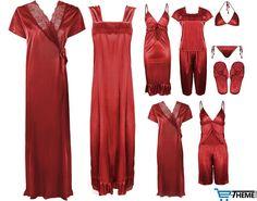 WOMENS SATIN LACE LONG NIGHTDRESS WOMENS NIGHTIE PYJAMA SET ROBE SET in Clothes, Shoes & Accessories, Women's Clothing, Lingerie & Nightwear | eBay