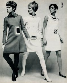 1960s- The mod look became popular in London, England. This fashion revolution was youth oriented. They had short hair cuts. It soon became more commercialized with bold prints, mini skirts, and heavy eyeliner and lashes.