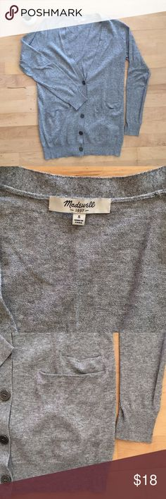 Madewell long grey cardigan, size small A 100% cotton long grey cardigan from Madewell. Lightweight, slightly relaxed fit layering piece that looks equally good with jeans or dresses. Madewell Sweaters Cardigans