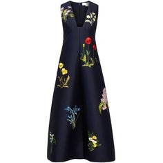 Stella McCartney Kaitlyn embroidered cotton blend dress ❤ liked on Polyvore featuring dresses, navy dress, plunge dress, blue dress, navy embroidered dress and floral embroidered dress
