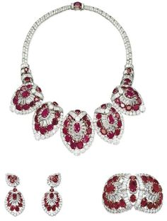 Set of diamond and ruby jewelry by Cartier. This matching set by Cartier featur. - Set of diamond and ruby jewelry by Cartier. This matching set by Cartier features a necklace earr - Cartier Jewelry, Ruby Jewelry, I Love Jewelry, Dainty Jewelry, Turquoise Jewelry, Diamond Jewelry, Jewelry Box, Jewelry Watches, Vintage Jewelry