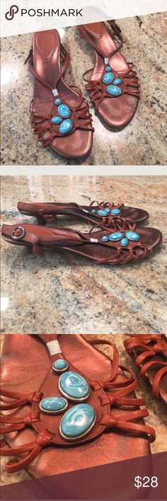 Cole Haan kitten heel turquoise stone detail sanda Cole Haan bronze w turquoise kitten heel sandals with adjustable sling back good used condition normal wear to foot bed see pics! Perfect for summer Cole Haan Shoes