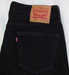Men Levis Levi's 505 Black Jeans Relaxed Straight Leg 100% Cotton sz 34 X 28 #Levis #ClassicStraightLeg