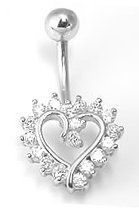 CZ STUDDED HOLLOW HEART 14K White Gold Navel Belly Button Ring FreshTrends. $164.70. Crafted from Nickel-free Solid 14K Gold