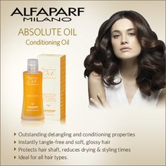 Bringing to you Absolute Conditioning Oil from ALFAPARF MILANO - a leading Italian multinational manufacturer of exclusive hair care and styling products Styling Products, Hair Products, Protective Hairstyles, Summer Hairstyles, Hair Type, Conditioning, Hair Color, Hair Beauty, Cosmetics