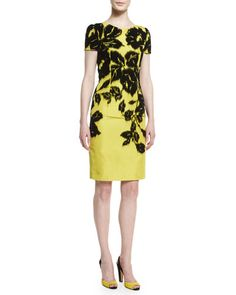 W08BQ Carolina Herrera Short-Sleeve Flocked Silk Faille Pencil Dress, Black/Yellow