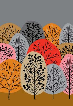 This is a limited edition giclee print of stylised trees in a woodland setting. Colours include grey, ochre, red, orange and pink. All my images
