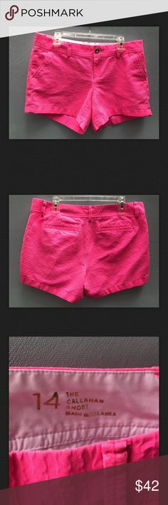 Lilly Pulitzer Hot Pink Callahan Shorts Lilly Pulitzer Shorts - Preppy Women's Callahan Short Mid rise  Bright pink  Solid textured cotton  Flat pockets on the rear    Shorts are in good preowned condition  No tears, pilling or stains.   Size 14 - recommended for a Lilly Pulitzer size large   Measures approximately 18 inches across the waist, 9.5 inch front rise and 4.5 inch inseam Lilly Pulitzer Shorts