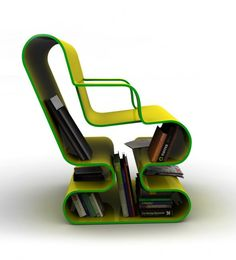 Side View Of Green Stylish Curved Lounge Chair With Book Storage