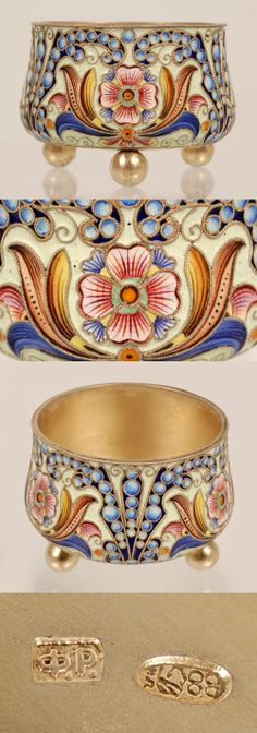 A Russian silver gilt and shaded cloisonne enamel bowl, Feodor Ruckert, Moscow, 1896-1908. The shaped circular bowl, raised on three ball feet, decorated in shaded multi-color floral and foliate motifs with sprays of shaded blue enamel circles.