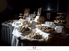 Katie Ann and Greg had a beautiful cookie table at their reception. Tiered trays, tea lights and legacy family wedding photos on the table made it extra . Cookie Table Wedding, Wedding Cookies, Cookie Desserts, Cookie Bars, Cookie Recipes, Family Wedding Pictures, Wedding Photos, Beautiful Desserts, Candy Table