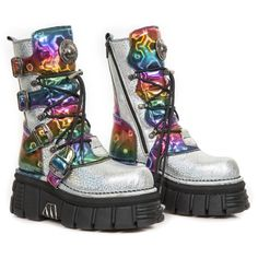 M.373-C87 Holographic Silver & Multicolour New Rock Tower Sole Boots, just £234.99 including delivery to UK & most of Europe. Worldwide delivery also available.