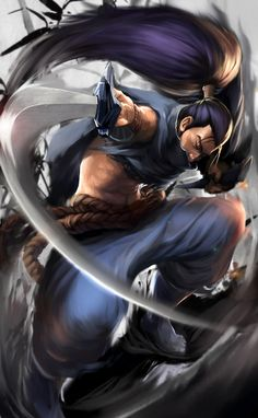 this is Yasuo, which is one of champion in league of legends. I think the most interesting part on this character design is its hair style matching Japanese bade