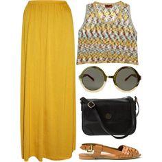 Mustard maxi skirt & crop top