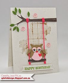 Splotch Design - Jacquii McLeay Independent Stampin' Up! Demonstrator: Sweet Swinging Owl Card