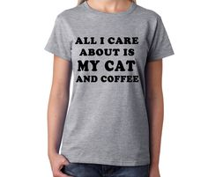 I Love My Cat And Coffee T Shirt, Cat t shirts, Coffee t shirts, Coffee Gifts, Cat Gifts, Coffee Lovers, Cat Lovers, Gifts for Cats by HappyTeeDay on Etsy