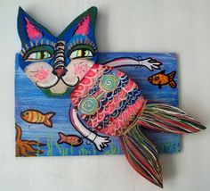 Gail Grant Folk Art outsider painting original signed wood Kitty  MERMAID #OutsiderArt