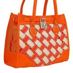 Tangerine and White Woven Lock Pendent Shoulder Bag Purse In Stock: $45