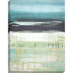 Sea and Sky I. Serene abstract in shades of blue and green. Gallery style canvas is wrapped around wood stretcher bars.
