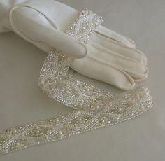 1920s Art Deco Style Beaded Trim Wedding by lacesparklevintage, $25.00