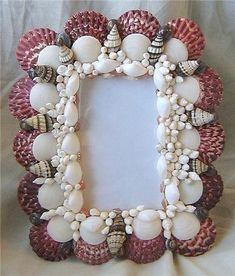 sea shell frames | Seashell Embellished Picture Frame