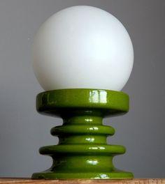 RETRO Vintage 60-70 FOHR KERAMIK Lime Green Lamp/Light/Desk Lighting German Art