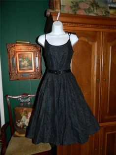 Vintage 50's Black Lace Dress with Nipped Waist Full Skirt Gorgeous XS | eBay
