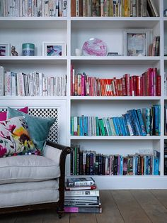 Color-Coded Books love the chair and pillows too