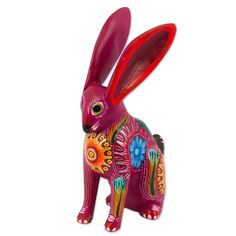 Hand Crafted Copal Wood Multi-Colored Rabbit Alebrije