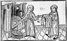"""Histori von den vier Kaufleuten, München, Staatsbibl., 4 Inc.s.a. 1036 Nürnberg 1494 - washerwomen with a """"midwife"""" apron"""