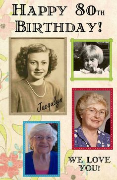 poster we made for Mom's 80th b-day party-framed it with a white 11x17 frame…