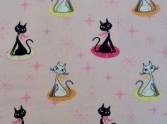 Kitty Cats on Pink Cotton Flannel Sewing Craft by Universalideas