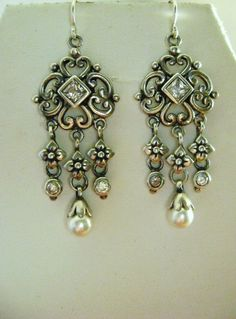Sterling Silver Chandelier Earrings with by Mosaicsandjewelry, $125.00