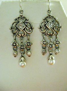 Sterling Silver Chandelier Earrings with by Mosaicsandjewelry, $110.00