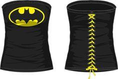 DC Comics Batman Logo Juniors Black Lace Up Corset..... never make in fat girl sizes