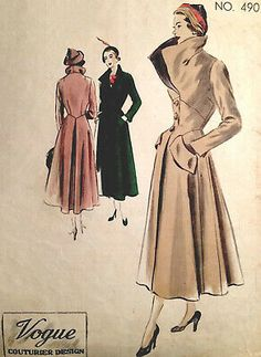 Ideas For Fashion Vintage Vogue Sewing Patterns Vogue Vintage, Look Vintage, Vintage Coat, Coat Pattern Sewing, Vogue Sewing Patterns, Coat Patterns, Clothing Patterns, Fabric Sewing, Jacket Pattern