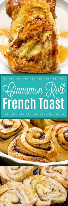 This Cinnamon Roll French Toast recipe turns your favorite cinnamon rolls into sticky, sweet delicious French toast for an over-the-top breakfast or brunch! #FrenchToast #CinnamonRolls #CinnamonRollFrenchToast