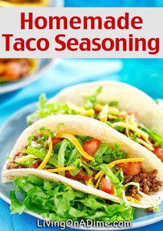 Homemade Taco Seasoning Recipe - Homemade Seasonings Mixes And Blends Easy Homemade Recipes, Homemade Spices, Homemade Tacos, Homemade Taco Seasoning, Seasoning Mixes, Seasoning Recipe, Homemade Crackers, Homemade Food, Sauces