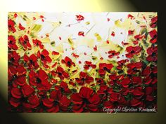 """SALE Original Art Abstract Painting Red Poppies Flowers Landscape Palette Knife Textured Poppy Floral Holiday Wall Decor 24x36"""" -Christine"""