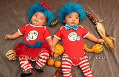 Two Amazing Homemade Infant Twin Costumes for Under $30: Twin 1 and Twin 2… Coolest Halloween Costume Contest