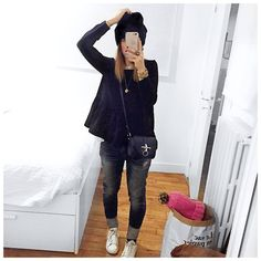 Audrey Lombard's inspiration Beanie #roseanna • Navy Peplum Top @dianeto #mademoiselled • Jean #levis • Sneakers #adidas • Bag #givenchy Classy Outfits, New Outfits, Spring Outfits, Cool Outfits, Casual Outfits, Fashion Outfits, Inspiration Mode, Girl Fashion, Womens Fashion