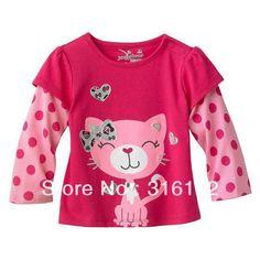 ... shirt-with-long-sleeve-baby-cute-cat-wear-children-s-cartoon-T-shirt #cattee - more Cat T-shirt Designs at Catsincare.com!