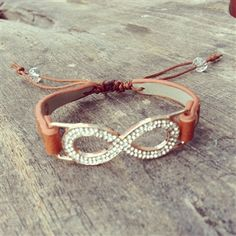 Rhinestone Infinity Bracelet with Brown Leather Tie Band