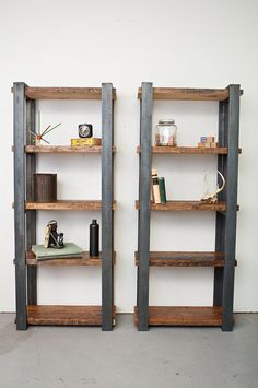Bookshelves Salvaged Wood Chelves with Steel Frame by dylangrey, $870.00