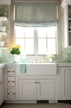 farm sink, open shelves, little drawers, white and bright, I am in heaven!