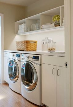 Top load machines instead O so D Simple, perfect laundry room Crown Point Cabinetry. Laundry Room Cabinets, Laundry Room Organization, Laundry Shelves, Open Cabinets, White Cabinets, Small Laundry Rooms, Laundry Room Design, Ikea Laundry, Laundry Decor